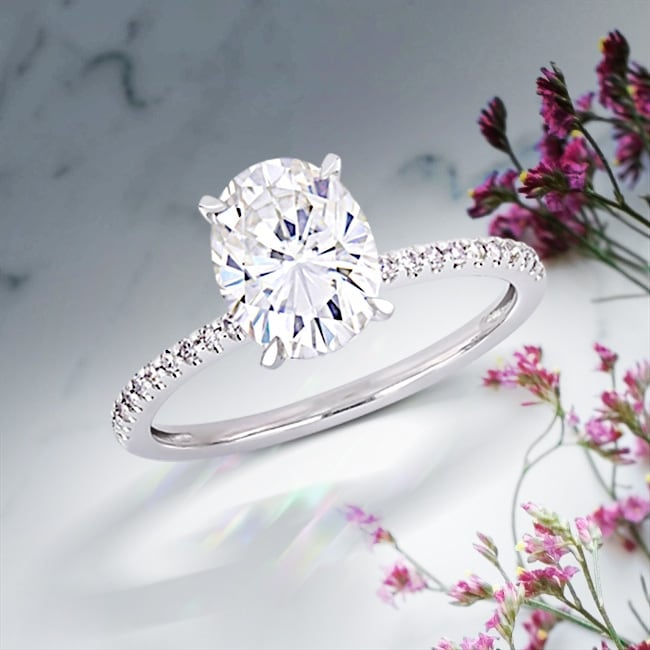 Link to Miadora 2ct DEW Oval-cut Moissanite and 1/10ct TDW Diamond Engagement Ring in 14k White Gold Similar Items in Rings