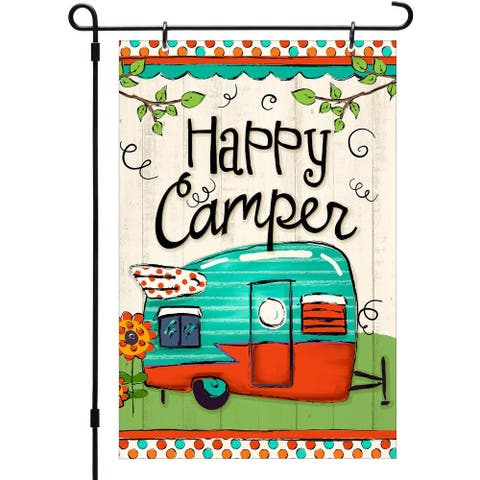 CounterArt Happy Camper Reversible Printed Garden Flag Made In The USA