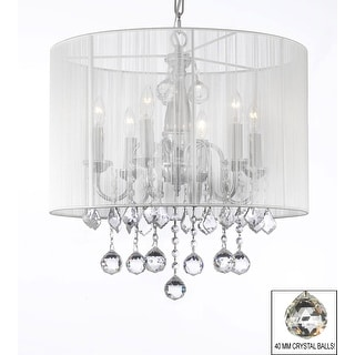 Crystal Chandelier with Large White Shade & 40 mm Crystal Balls