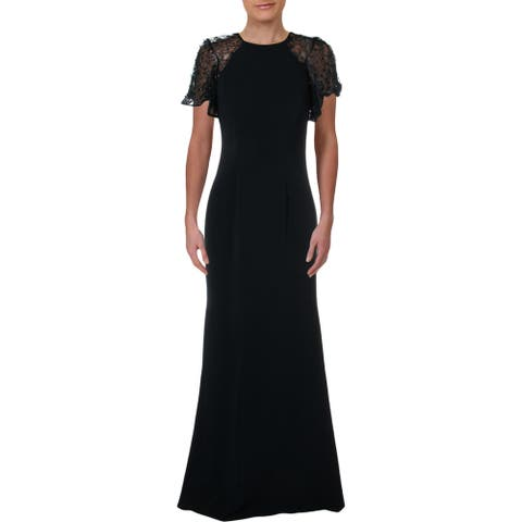 Carmen Marc Valvo Womens Formal Dress Sequined Lace - Midnight
