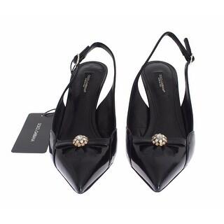 Dolce & Gabbana Black Leather Crystal Slingbacks Heels Shoes - 36.5