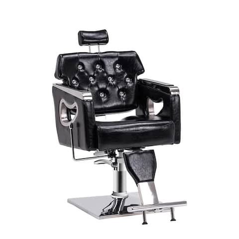 BarberPub Barber Chair Reclining Salon Chair for Hair Stylist, Antique Hair Spa Salon Styling Beauty Equipment 8132BK