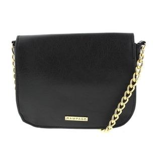 Rampage Womens Leather Chain Crossbody Handbag - Black - SMALL