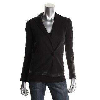 Theory Womens Antonito Blazer Leather Trim Wrist Zip