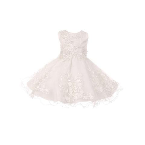 Baby Girls White Embroidered Pearls Tulle Sequin Easter Flower girl Dress