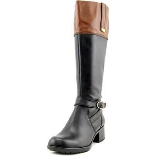 Bandolino Baya Wide Calf Women Round Toe Leather Black Knee High Boot