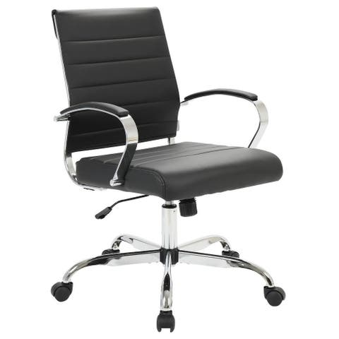 LeisureMod Benmar Mid-Back Swivel Leather Office Chair W/ Chrome Base