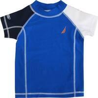 Nautica Baby Boys Blue White Black Short Sleeve Rash Guard Swim Shirt 12-24M
