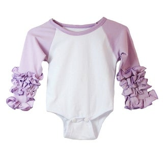 Baby Girls Lavender White Ruffle Cuff Crew Neck Long Sleeve Bodysuit 3-6M