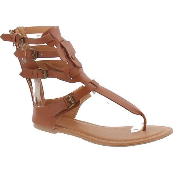 Wild Diva Tanaya-540 Women's T-Strap Buckle Gladiator Back Zip Flat Thong Sandal - Cognac
