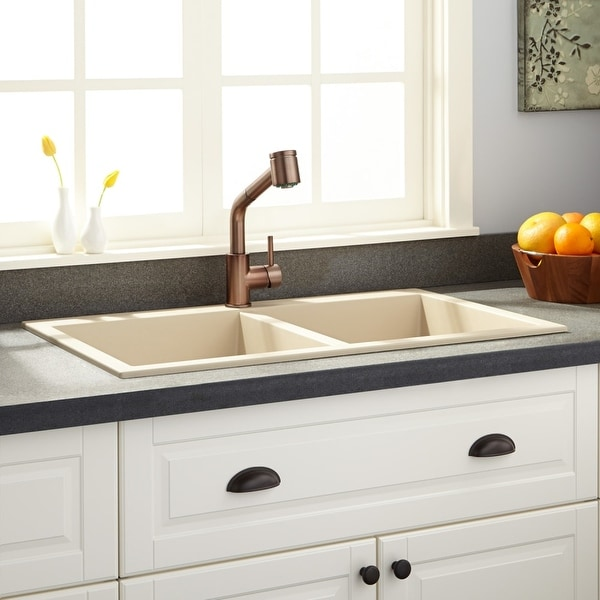 Signature Hardware 933446 Townsend 34 Drop In Double Basin Granite Composite Kitchen Sink N