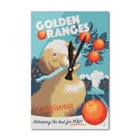 CA Golden Retriever Retro Oranges Ad - LP Artwork (Acrylic Wall Clock) - acrylic wall clock