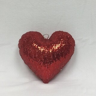 "12"" Sparkly Red Inflatable Sequin Heart Christmas Ornament"