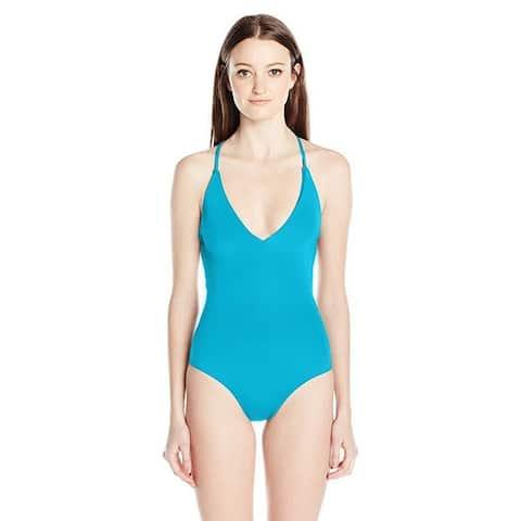 Roxy Women's Strappy Love Criss Cross One Piece Swimsuit, Mosaic Blue, SZ S