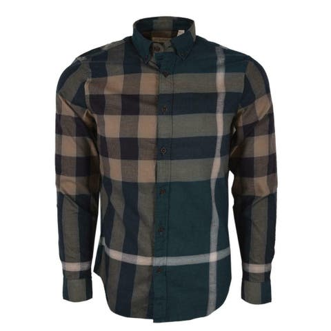 Burberry Brit Fred Bright Teal Nova Check Cotton Long Sleeve Shirt