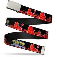 Blank Chrome  Buckle Pokemon Charmander Silhouette Poses Flames Black Web Belt - S