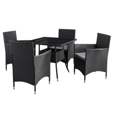 CorLiving Parksville Square Patio Dining Set - Black Finish/Ash Grey Cushions 5pc