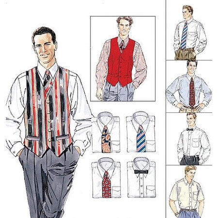 Men's Lined Vest, Shirt, Tie In Two Lengths and Bow Tie-Y (SM-MED-LRG) -*SEWING PATTERN*