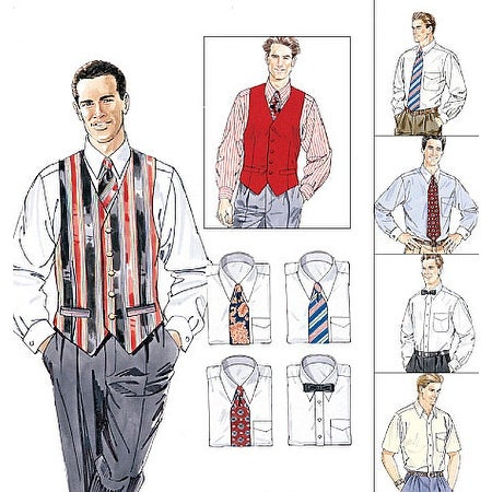 Men's Lined Vest, Shirt, Tie In Two Lengths and Bow Tie-Z (XLG-XXL-XXXL) -*SEWING PATTERN*