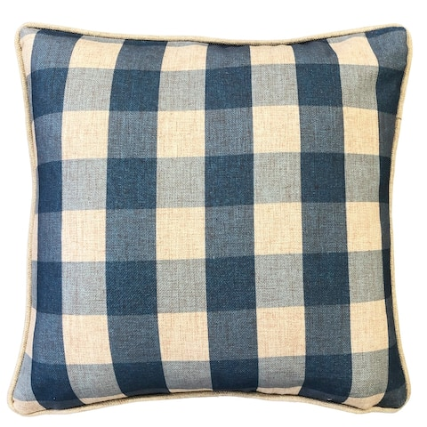 Rodeo Home Suzanne Plaid Linen Square Throw Pillow Cover and Insert