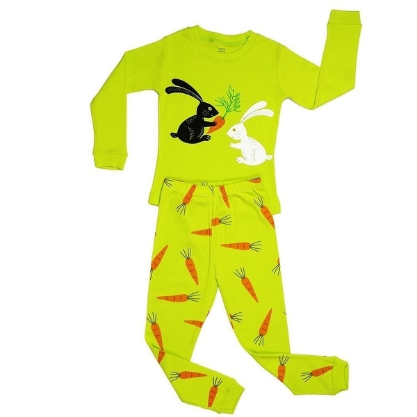Elowel Baby Girls Yellow Bunny Rabbit Print Cotton 2 Pc Pajama Set