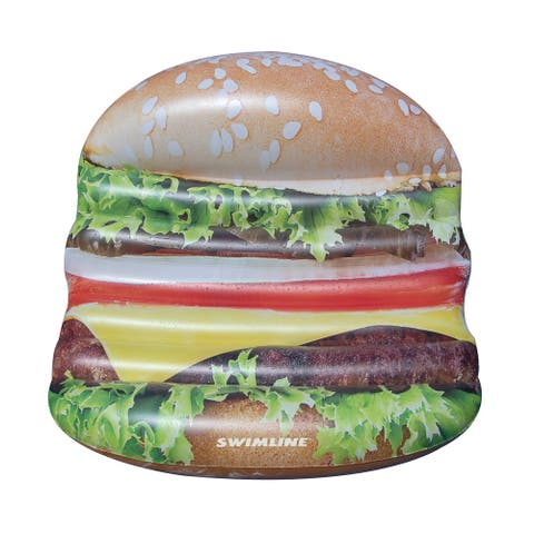 """60"""" Inflatable Brown Cheeseburger Deluxe Island Swimming Pool Float"""