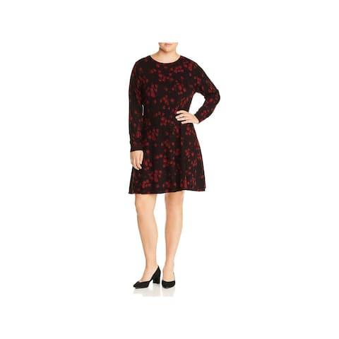 Michael Kors Womens Plus Casual Dress Floral Scoop Neck
