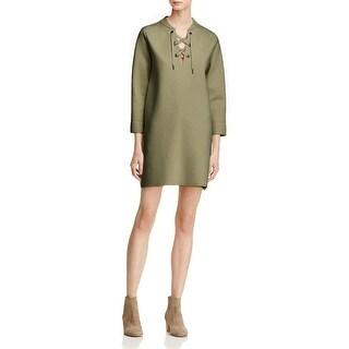 Theory Womens Patrinelle Tunic Sweater Merino Wool Lace-Up - M