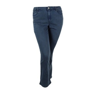 Suede Juniors' Eva Mid Rise Bootcut Jeans (Stacked,32) - stacked