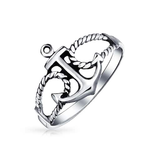 Sailor Boat Lover Nautical Sea Ocean Rope Open Anchor 925 Sterling Silver Ring Polished Finish
