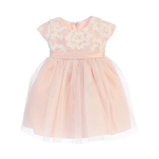 Sweet Kids Baby Girls Blush Floral Sponge Mesh Tulle Flower Girl Dress