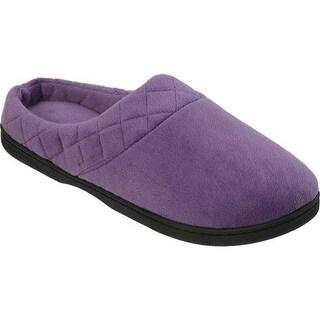 Dearfoams Women's Microfiber Velour Clog Slipper Smokey Purple