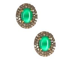 Green Onyx Stud Earrings in Sterling Silver, Oval Diamond Earrings