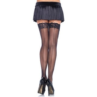 Lace Top Sheer Stockings With Backseam, Lace Top Thigh High Stockings - One Size Fits most