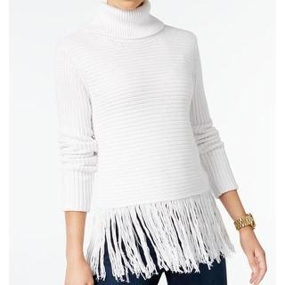 Michael Kors NEW White Ivory Women's Size XL Turtleneck Fringe Sweater
