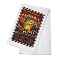 Kaanapali, HI Pineapple Vintage Sign - LP Artwork (100% Cotton Towel Absorbent)