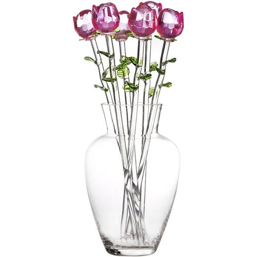 Palais Glassware High Quality Clear Glass 'Fleurs' Vase With Six Pink Glass Roses