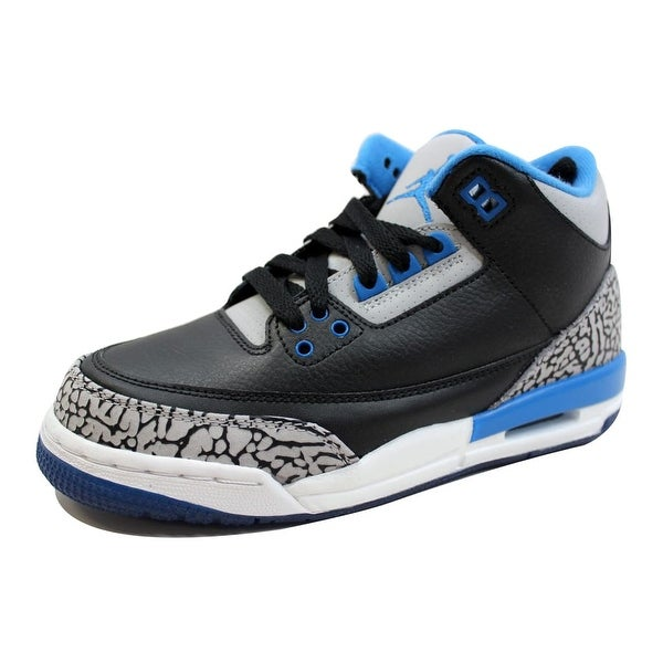 buy popular f0fb5 496de Nike Grade-School Air Jordan III 3 Retro Black Sport Blue-Wolf Grey