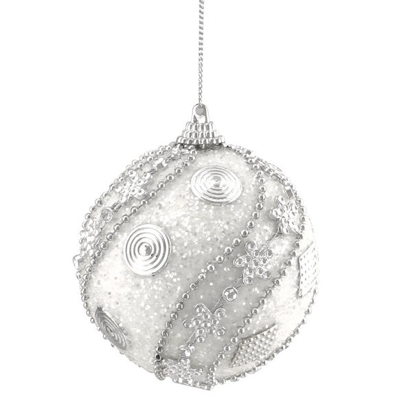 """Set of 3 White with Silver Beaded Swirl and Circle Glittered Shatterproof Christmas Ball Ornaments 3"""""""