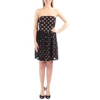 $90 JUMP New Womens 1417 Black Geometric Strapless Sheath Dress Juniors M B+B