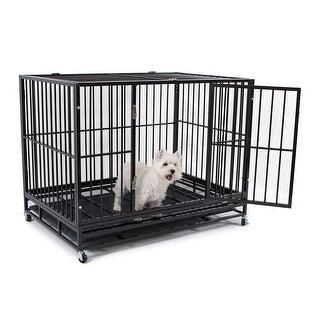 """Fur Family 48"""" Dog Crate Kennel - Heavy Duty Pet Cage Playpen with Tray Pan & Wheel, Black"""