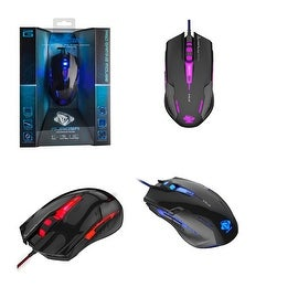 Auroza-G EMS607 Black Maximum 3000-dpi Red/ Blue/ Purple Wave Sensor Wired Gaming Mouse