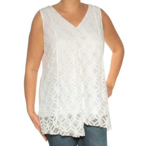 ALFANI Womens White Sleeveless V Neck Top Size: L