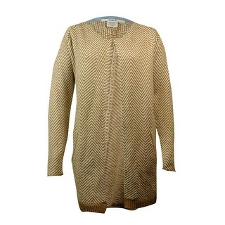Bar III Women's Chevron Knit Sweater - camel combo - XxL