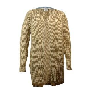 Bar III Women's Chevron Knit Sweater - camel combo