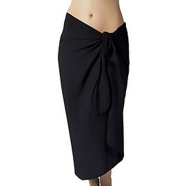 Long Black Swimsuit Sarong Cover Up with Built in Ties One Size