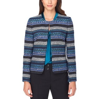 Tahari ASL Womens Blazer Tweed Printed