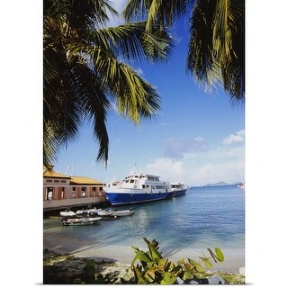 Poster Print entitled Ferry docked on the beach, Cruz Bay, St. John, US Virgin Islands