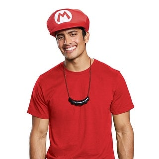 Adult Mario Hat & Mustache Necklace Costume Kit - standard - one size