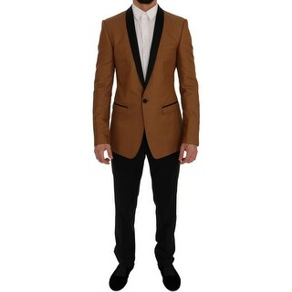 Dolce & Gabbana Yellow Black GOLD Slim Fit One Button Suit - it48-m